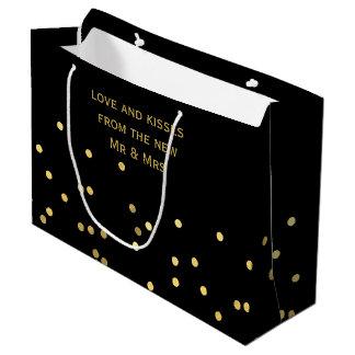 Sacola Para Presentes Grande Obrigado preto Matte dos confetes do ouro do falso