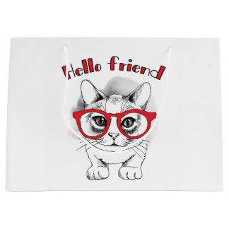 Sacola Para Presentes Grande Olá! gato do amigo com o saco do presente dos