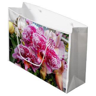 Sacola Para Presentes Grande Orquídeas cor-de-rosa do Dendrobium