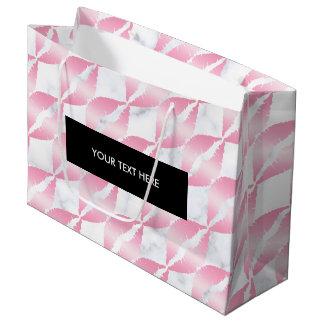 Sacola Para Presentes Grande os lábios cor-de-rosa femininos elegantes do ouro