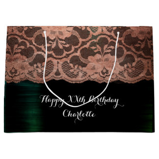 Sacola Para Presentes Grande Ouro cor-de-rosa metálico de Cali do aniversário