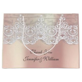 Sacola Para Presentes Grande Ouro cor-de-rosa metálico personalizado do rosa