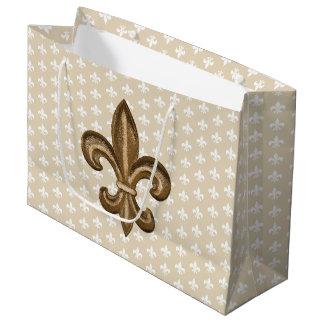 Sacola Para Presentes Grande Ouro de Nola & flor de lis francesa branca