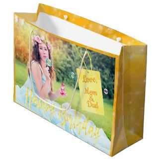 Sacola Para Presentes Grande Ouro do saco do presente da foto feita sob