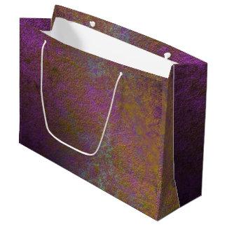 Sacola Para Presentes Grande Ouro e design do abstrato do roxo