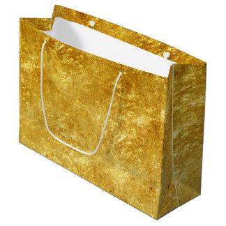 Sacola Para Presentes Grande Ouro e teste padrão de mármore chapeado amarelo