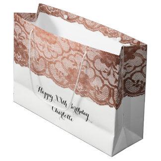 Sacola Para Presentes Grande Ouro metálico do rosa do rosa do aniversário