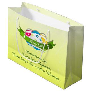 Sacola Para Presentes Grande Ovos da páscoa florais e desejo da páscoa