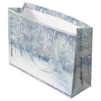 Sacola Para Presentes Grande País das maravilhas branco do inverno