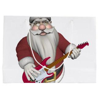 Sacola Para Presentes Grande Papai Noel que joga a guitarra elétrica