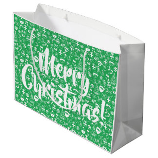 Sacola Para Presentes Grande Papai noel verde do boneco de neve do duende do