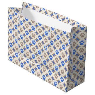 Sacola Para Presentes Grande Pata-para-Dando o saco do presente (cobalto/tan)