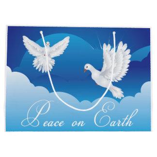 Sacola Para Presentes Grande Paz no saco do presente do Natal da terra