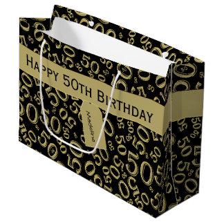 Sacola Para Presentes Grande Personalize: 50th Ouro do aniversário/tema preto