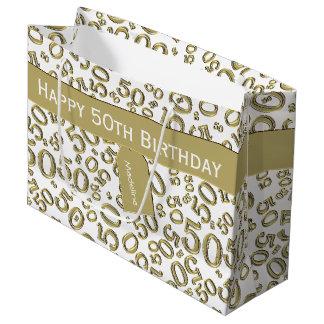 Sacola Para Presentes Grande Personalize: 50th Ouro/WhiteTheme do aniversário