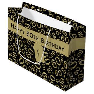 Sacola Para Presentes Grande Personalize: 60th Ouro do aniversário/tema preto
