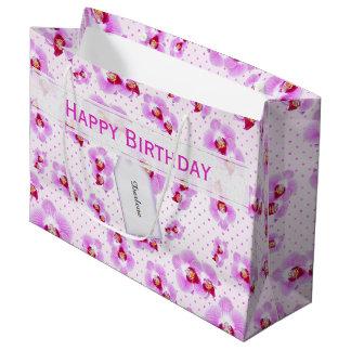 Sacola Para Presentes Grande Personalize:  Orquídea floral do roxo da
