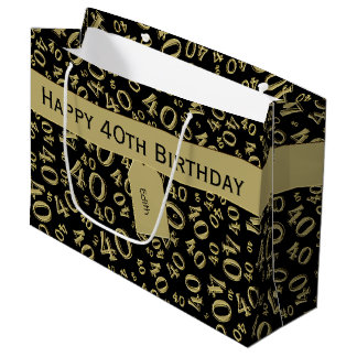 Sacola Para Presentes Grande Personalize: Ouro do aniversário de 40 anos/tema