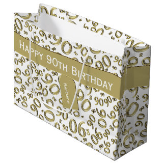 Sacola Para Presentes Grande Personalize:  Ouro/tema branco do aniversário do
