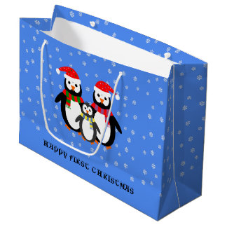 Sacola Para Presentes Grande Pinguins feitos sob encomenda do texto do primeiro