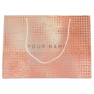 Sacola Para Presentes Grande Pintura cor-de-rosa metálica abstrata do pêssego