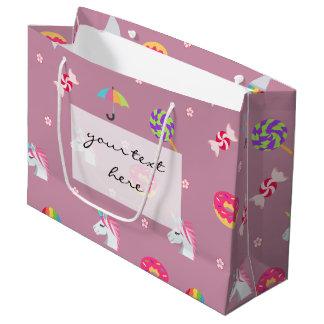 Sacola Para Presentes Grande pirulitos cor-de-rosa bonitos das flores dos doces