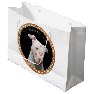 Sacola Para Presentes Grande Pitbull branco com beijos do vermelho por todo o
