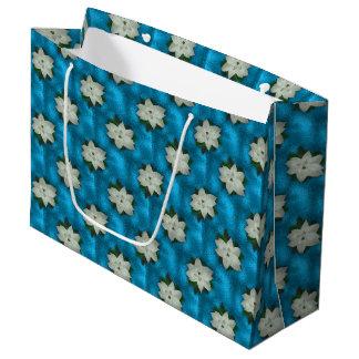 Sacola Para Presentes Grande Poinsétia branca & hortaliças do Natal bonito