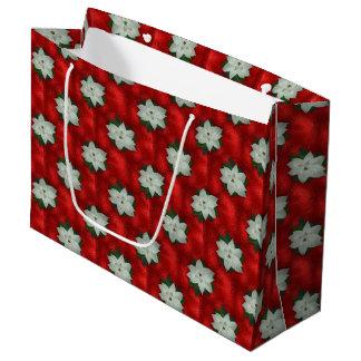 Sacola Para Presentes Grande Poinsétia do Natal