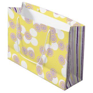 Sacola Para Presentes Grande Pontos & listras amarelos & saco roxo do presente