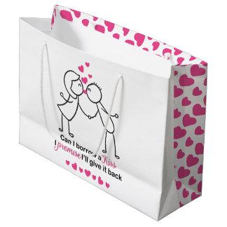 Sacola Para Presentes Grande Posso eu peço um design bonito do casal do beijo
