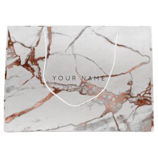 Sacola Para Presentes Grande Prata cinzenta VIP do presente metálico de mármore