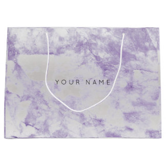 Sacola Para Presentes Grande Prata metálica de pedra de mármore roxa Amethyst