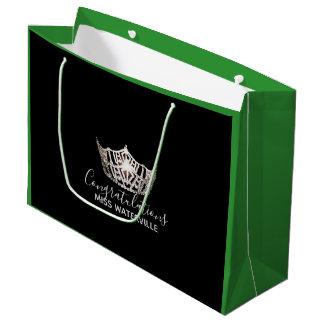 Sacola Para Presentes Grande Presente de prata do verde da coroa da senhorita
