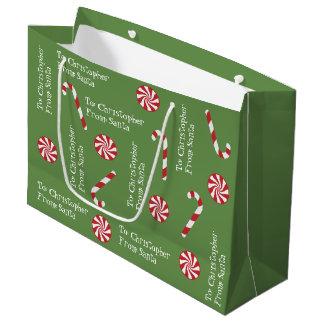 Sacola Para Presentes Grande Presente personalizado do verde dos doces do Natal