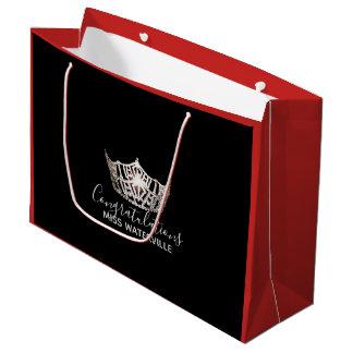 Sacola Para Presentes Grande Presente vermelho da coroa de prata da senhorita