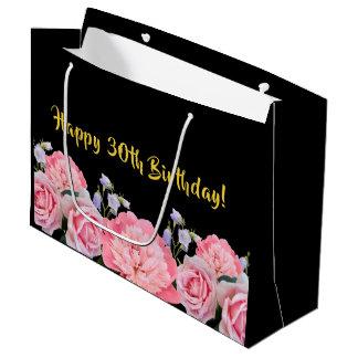 Sacola Para Presentes Grande Preto do saco do presente de aniversário de 30