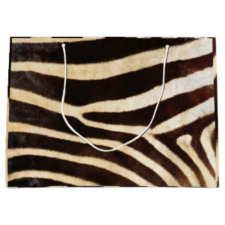 Sacola Para Presentes Grande Preto do Whit de Brown do safari da zebra da pele
