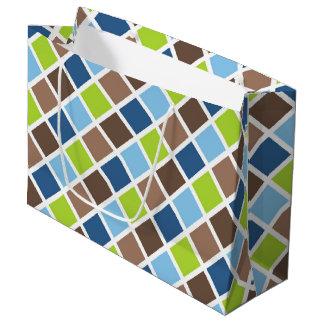 Sacola Para Presentes Grande Quadrados azuis e verdes do bebé