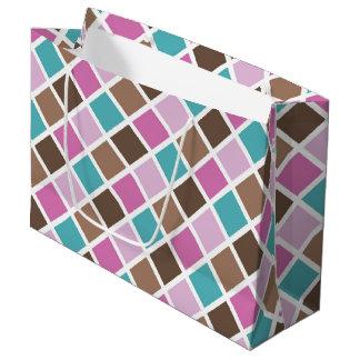 Sacola Para Presentes Grande Quadrados cor-de-rosa e azuis do bebé