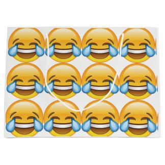 Sacola Para Presentes Grande Rasgos de grito de riso do emoji da alegria