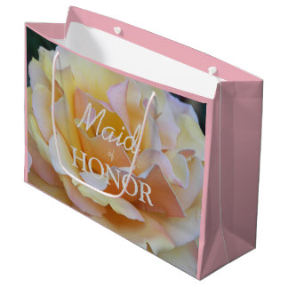 Sacola Para Presentes Grande Rosa do Pastel da madrinha de casamento floral