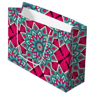 Sacola Para Presentes Grande Rosa e teste padrão floral da mandala de turquesa
