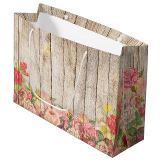 Sacola Para Presentes Grande Rosas românticos rústicos do vintage de madeira