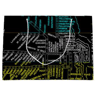 Sacola Para Presentes Grande Rota do mapa do sistema do vintage do metro de