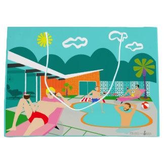 Sacola Para Presentes Grande Saco alegre retro do presente da festa na piscina