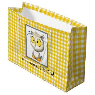Sacola Para Presentes Grande Saco amarelo & branco da coruja de Oliver do chá