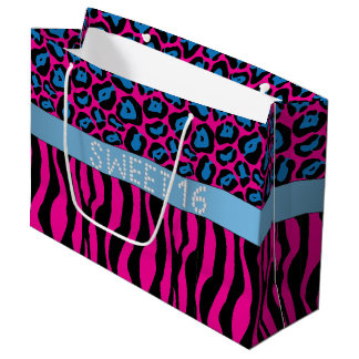Sacola Para Presentes Grande Saco animal cor-de-rosa L do presente do doce 16