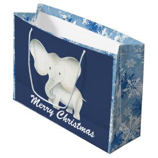 Sacola Para Presentes Grande Saco azul da festa de Natal do floco de neve do