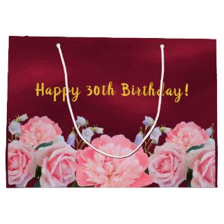 Sacola Para Presentes Grande Saco Borgonha do presente de aniversário de 30